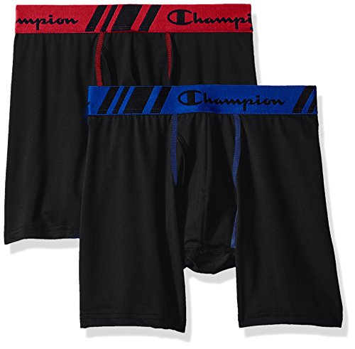 Champion Brief Boxer Mens (Champion Men's Tech Performance Boxer Brief, Black/Black, Large)