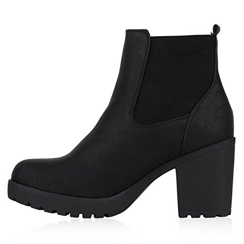 Flandell Mit Profilsohle Amares Boots Black Chelsea Stiefeletten Schwarz Blockabsatz Stiefelparadies Damen TwH06qIH