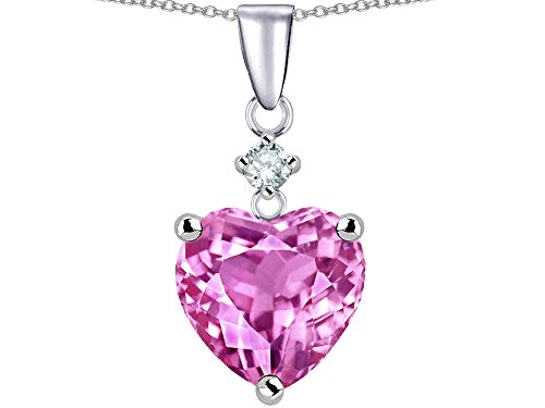 Star K 8mm Heart Shape Created Pink Sapphire Pendant Necklace Sterling Silver (Created Pink Sapphire Heart Pendant)