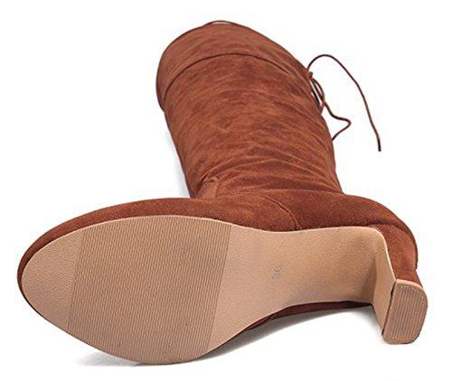 Heels Round High Chic Women's Above Knee Aisun Booties Toe Chunky The Brown R60x8q