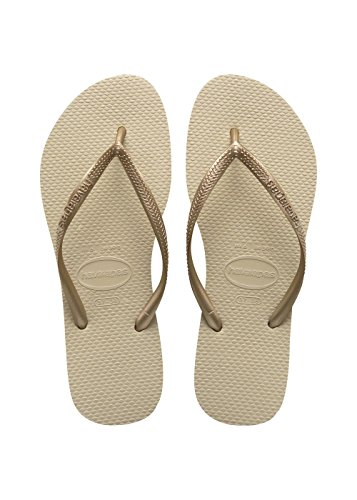 Havaianas Slim, Chanclas Niñas Dorado (Sand Grey/Light Golden 2719)