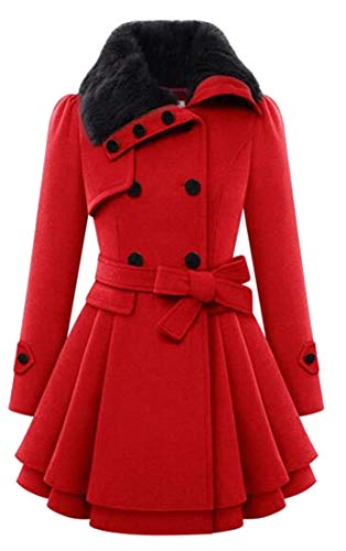 (Jofemuho Womens Faux Fur Collar Double Breasted Plus Size Belted Wool Blend Trench Pea Coat Overcoat Red S)