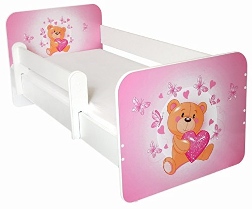 Toddler Bed with Free Mattress (Teddy with Heart) Amila TeddywithPinkHeart
