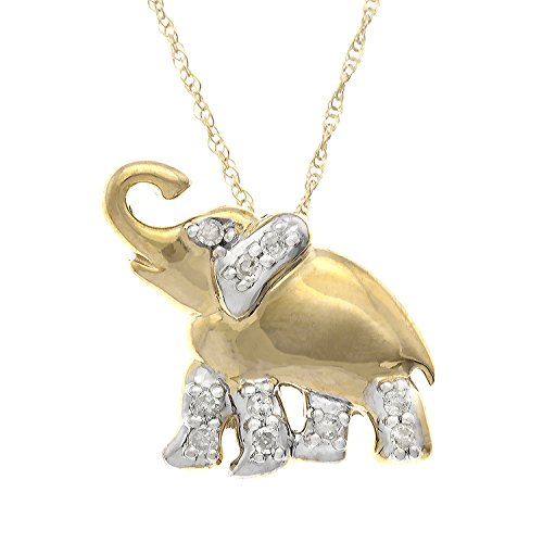 JewelExclusive 10K Yellow Gold 1/10cttw Natural Round-Cut Diamond (I-J Color, I2-I3 Clarity) Elephant Pendant-Necklace, 18