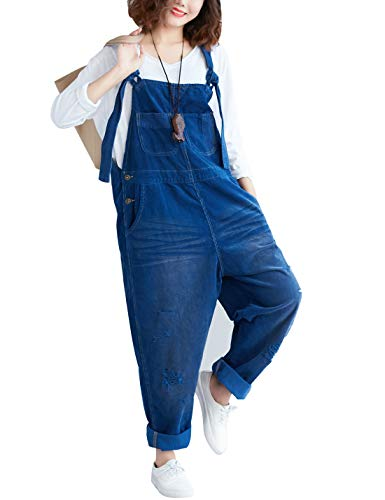 Yeokou Women's Loose Baggy Denim Wide Leg Drop Crotch Jumpsuit Rompers Overalls (One Size, Style 26 Blue)