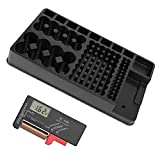 Battery Organizer Storage Case Holder - Holds 110 Batteries Various Sizes and Removable Digital Battery Tester for AAA, AA, 9V, C and D Size - Perfect as Wall or Drawer Organizer