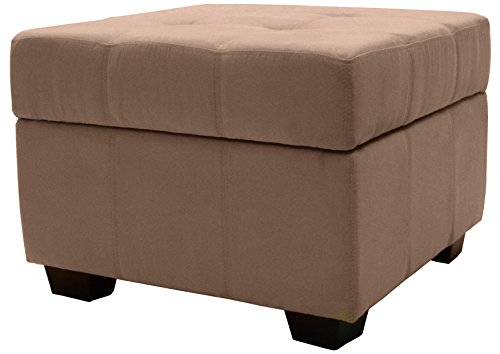 Microfiber Suede Upholstered Tufted Padded Hinged Square Storage Ottoman Bench, 24