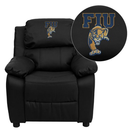 Flash Furniture Florida International University Golden Panthers Embroidered Black Leather Kids Recliner with Storage - Nba Kids Recliner
