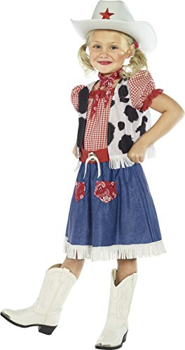 Cowgirls For Kids Costumes (Smiffy's Children's Cowgirl Sweetie Costume, Dress, Vest, Scarf, Belt and Hat, Color: Multi, Ages 4-6, Size: Small,)