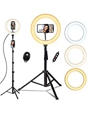 $29 » Ring Light with Tripod Stand, Doosl 10'' Ring Light with 63in Stand & Phone Holder - Dimmable Beauty Ringlight for Live Stream/Makeup/YouTube Video with iPhone Xs Max XR Android