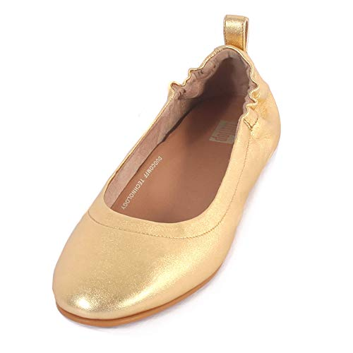(FitFlop Women's Allegro Leather Slip On Ballerina Artisan Gold-Gold-4)