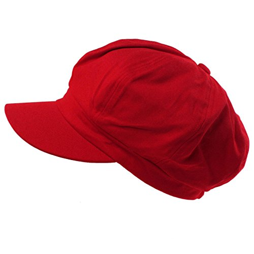 - Summer 100% Cotton Plain Blank 8 Panel Newsboy Gatsby Apple Cabbie Cap Hat Red