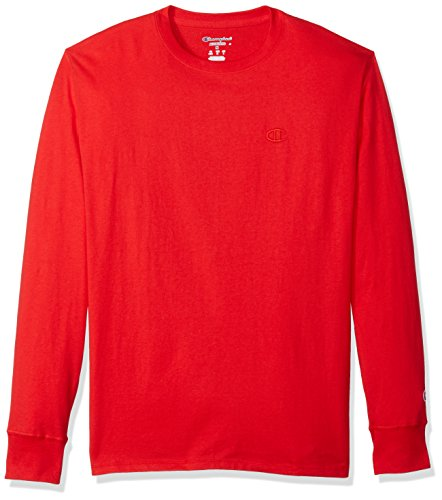 Champion Men's Classic Jersey Long Sleeve T-Shirt, Scarlet, - Sports Sleeve Long Runner