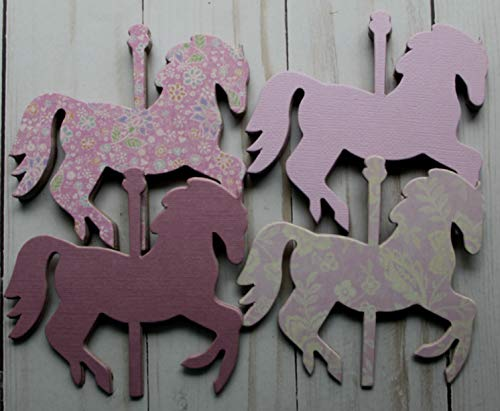 - 20 Carousel HORSES mauve/orchid purples chipboard die cuts 4