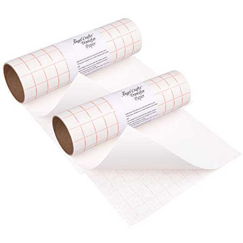 (Angel Crafts Transfer Paper Tape 2-Pack: Craft Transfer Tape for Vinyl Application with Red Grid Lines - Two Self Adhesive Transfer Paper Rolls Compatible with Cricut, Silhouette Cameo - 12 Inch by 8)