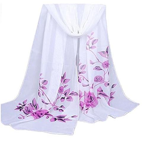 Women's Fashion Long Shawl Buedvo Ladies Chiffon Soft Wrap Flowral Print Scarf (63