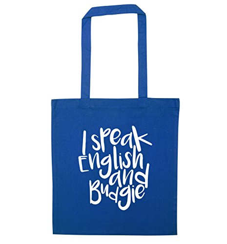 tote and bag English budgie Blue I speak IwEgxpw7