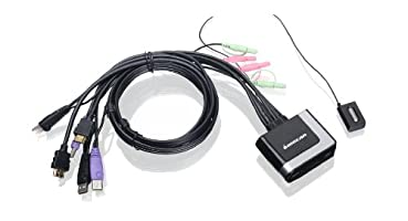IOGEAR 2-Port HDMI Cable KVM Switch with Cables and Audio, GCS62HU