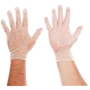 AMMEX Medical Vinyl Disposable Gloves - on hands
