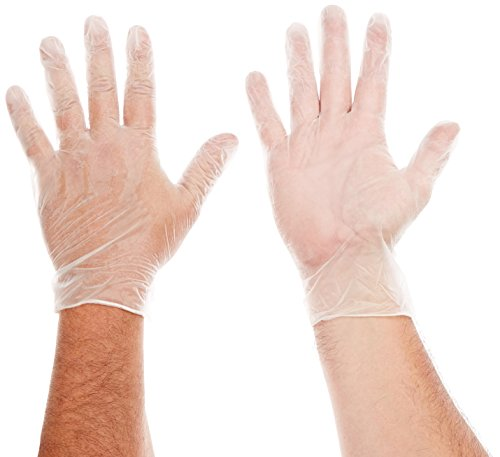 AMMEX Medical Vinyl Disposable Gloves - on hands