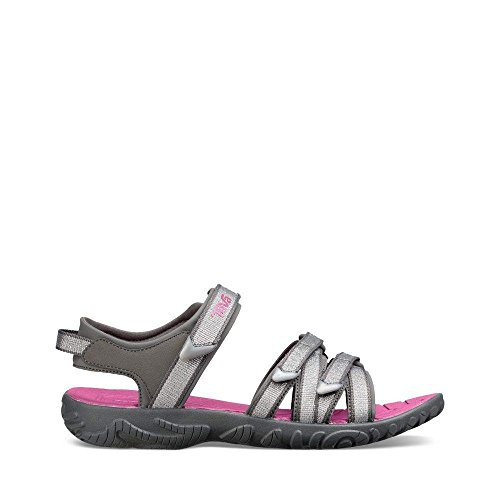 Teva Girls' Y Tirra Sport Sandal, Silver/Magenta, 5 M US Big Kid