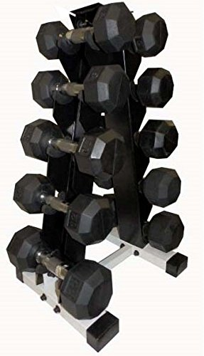 Ader Black Rubber Dumbbell 3, 5, 8, 10,12 Lbs with 5 Pair Rack
