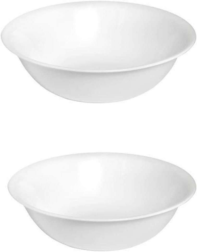 Corellle Livingware 1-Quart Serving Bowl, Winter Frost White 2PK