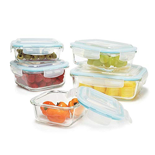 Gourmet Home Products 10 Piece Glass Container Food Storage Set with Locking Lids, Clear