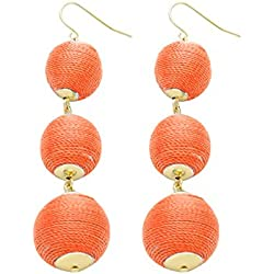 Women's Triple Thread Lantern Ball Dangle Fashion Earrings - Coral