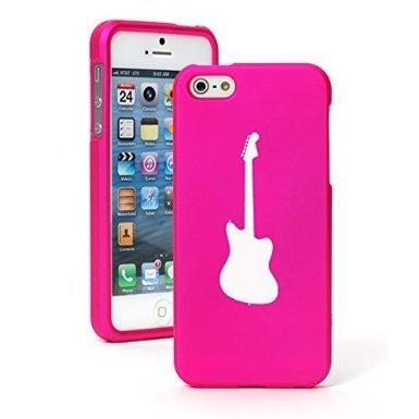 Apple Iphone 6 Plus   6S Plus Rubberized Matte Grip Rubber Hard Case Cover Bass Guitar  Hot Pink