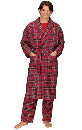 PajamaGram Mens Robe Classic Plaid - Cotton Flannel Robes Men