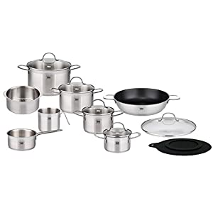 ELO Top Collection 18/10 Stainless Steel Kitchen Induction Cookware Pots and Pans Set with Shock Resistant Glass Lids and Integrated Measuring Scale, 14-Piece