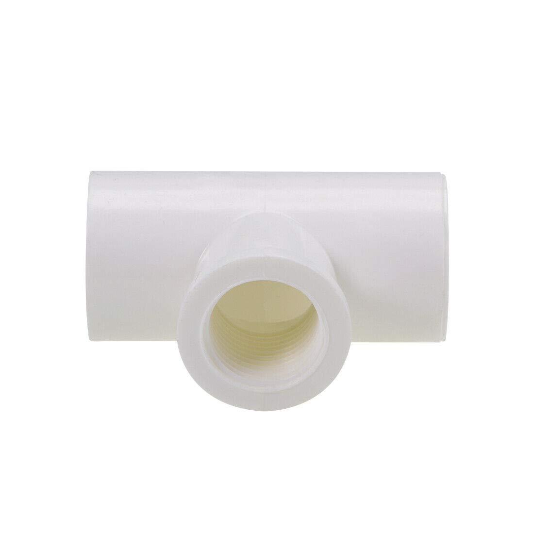Pipe Fittings 25mm x G1//2 Female x 25mm Slip PVC Pipe Fitting Tee T-Shaped 4Pcs