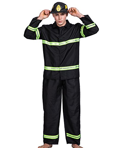 EraSpooky Adult Fireman Firefighter Halloween Costume(As Picture, Medium)