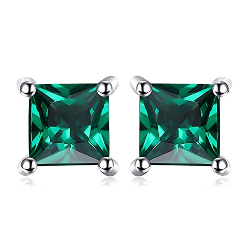 JewelryPalace Square 0.6ct Simulated Simulated Russian Nano Emerald 925...