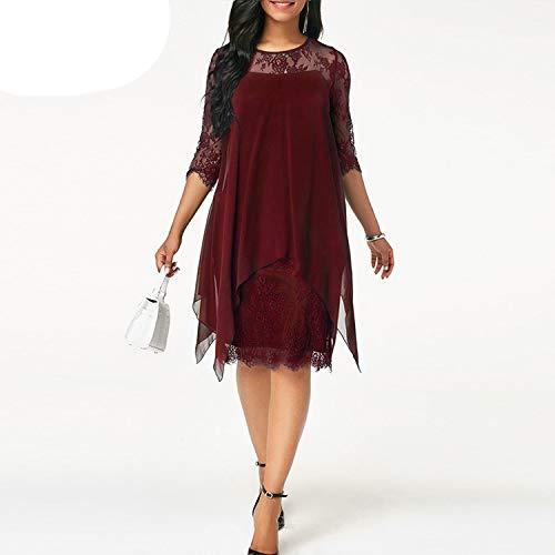 Dresses Women Chiffon Overlay Three Quarter Sleeve Stitching Irregular Hem Lace Dress,Red,S