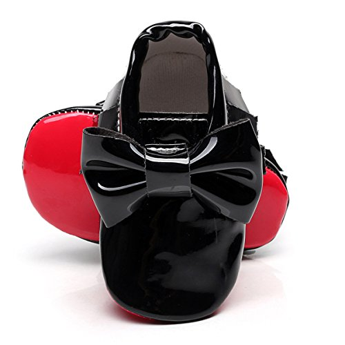 HONGTEYA Red Bottom Bow Pu Patent Leather Baby Moccasins Shoes for Boys/Girls/Toddlers/Infants/Babies (10.5cm 0-3months 4.13inch, Black)