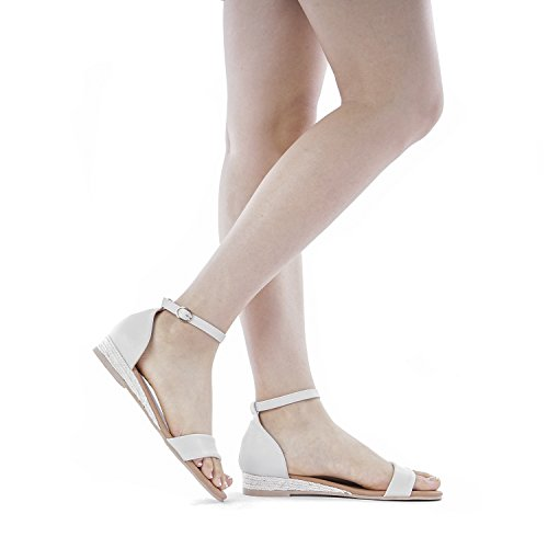 DREAM PAIRS Women's Formosa_10 Nude Low Platform Wedges Ankle Strap Sandals Size 8 B(M) US by DREAM PAIRS (Image #5)