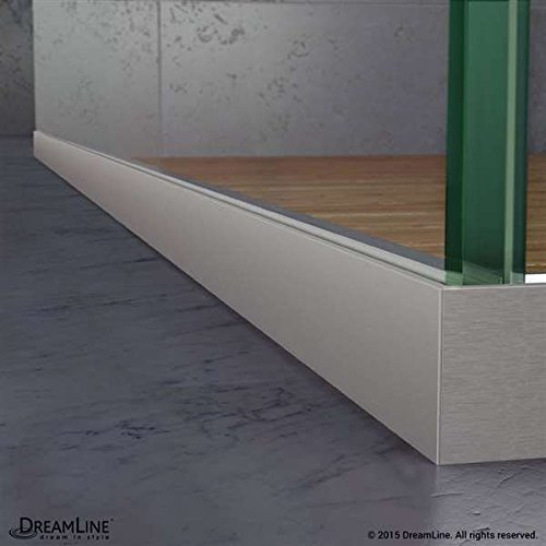 Dreamline Linea Frameless Shower Door. Two Attached Glass Panels: 30 in. x 72 in. Brushed Nickel Finish good