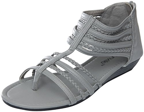 Grey Gladiator Flats 81002 Womens Perforated Roman Sandals ZwxqaH
