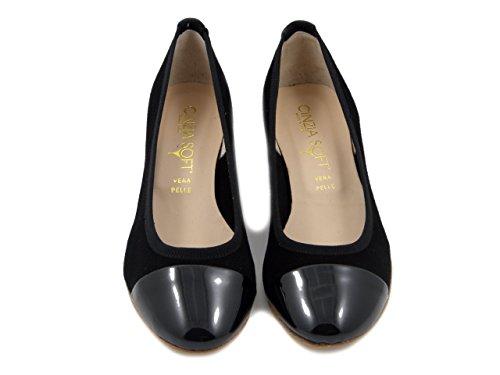 Linea Camoscio Basso Nero Cm Tacco 44119 Ballerina Lucida E Cinzia 3 Pelle Comfort In Soft Decollete XxTnwqH