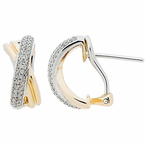 Diamond Earrings in 14kt Two-tone Gold Carat Total Weight 0.37 14kt 2 Tone Diamond Earrings