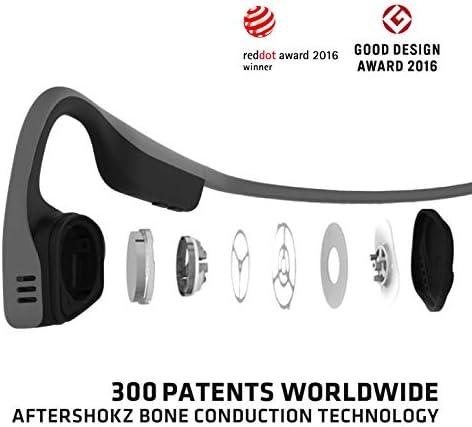 AfterShokz Trekz Titanium Casque Conduction Osseuse à Oreilles Ouvertes Écouteur Bluetooth sans Fil avec Micro, Bluetooth 4.1, 6h d'Autonomie, pour Les Appels, Music, Podcast, Livre Audio