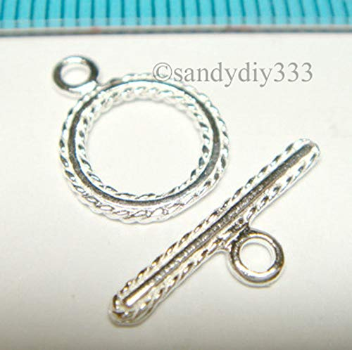 FidgetKute 1x Sterling Silver Bright Toggle Round Twist Rope Clasp 10mm J141 ()