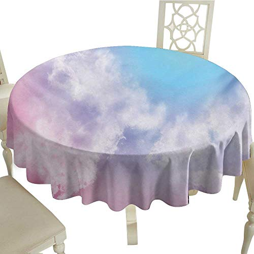 Cranekey Gingham Round Tablecloth 65 Inch Pastel,Fantasy Sky Abstraction Smoky Clouds Foggy Mystical Ethereal Composition,Pale Pink Aqua White Great for,Party & - Toile Pink Green Gingham