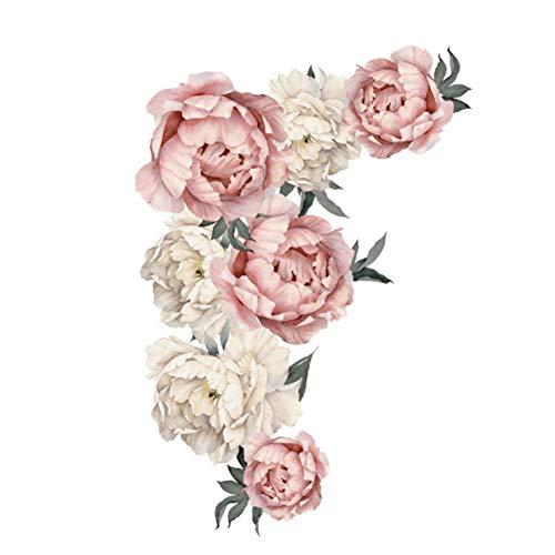 AUNMAS Pegatinas de Pared Decorativos Patrón de Flores de peonía Tatuajes de Pared Floral Wallpaper Art Applique…