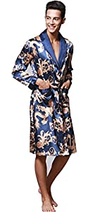 Men's Shawl Collar Kimono Dragon Print Satin Robe bathrobe/sleepwear/ Pajama (M, blue 1)