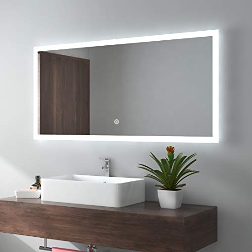 (Meykoe 48 x 24 inches LED Lighted Bathroom Mirror Wall Mounted Vanity Mirror with Touch Switch   Cool White Energy Efficient Illuminated)