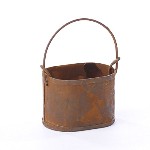 Set of 4 Miniature Oval Metal Buckets with Handle for Fairy Gardens, Crafting and Embellishing (Bucket Rusty)