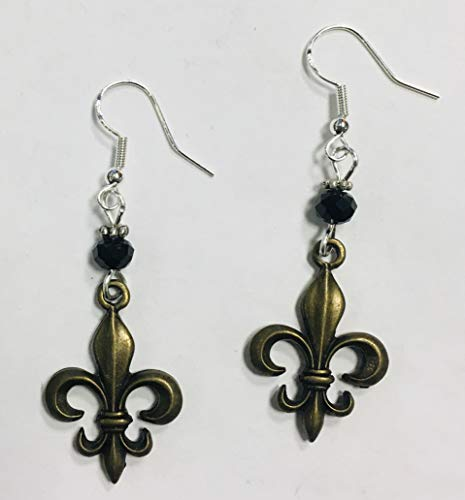 Black & Gold Nola Fleur De Lis Earrings on sterling silver earwires